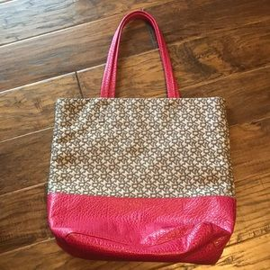 DKNY town and country pink brown leather tote